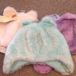 Three faux fur winter hats, kids size 12-18 months